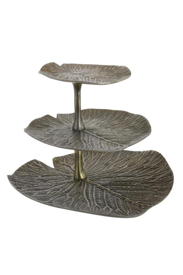 6609318 Etagere 3 laags 33x33x28 cm LEAF antiek brons - Quality2life.nl
