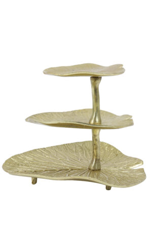 Etagere 3laags LEAF goud 6609385, Quality2life.nl